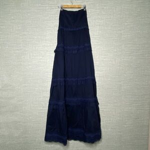 J.Crew Sz 4 Navy Blue Boho Maxi Dress Strapless
